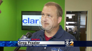 CBS2's Lou Young interviews Cooling Tower Disinfection Expert Greg Frazier of Clarity Water Technologies