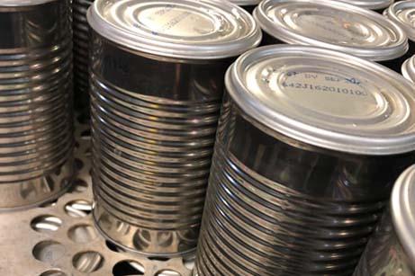 Aluminum cans of food