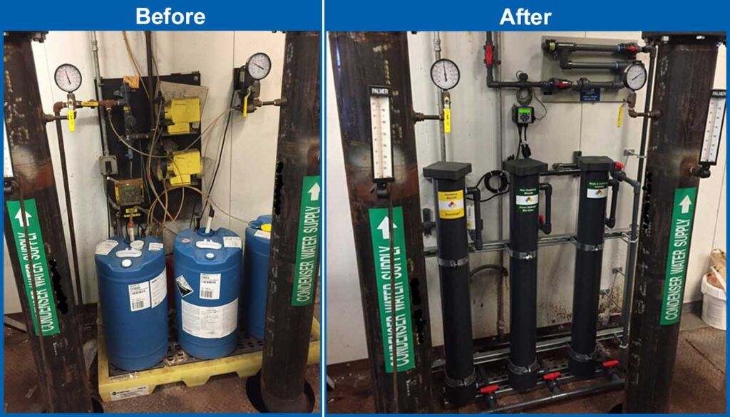 Before and after pictures showing the simplicity of an EcoSAFE feeder set up versus liquid chemicals