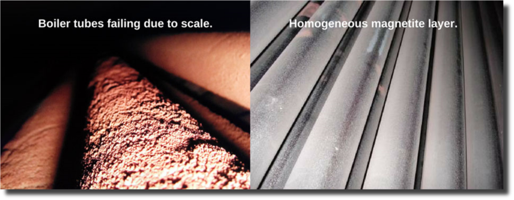 An illustration of how EcoSHIELD protects equipment, with the boiler tubes failing due to scale before treatment and a homogeneous magnetite layer after treatment