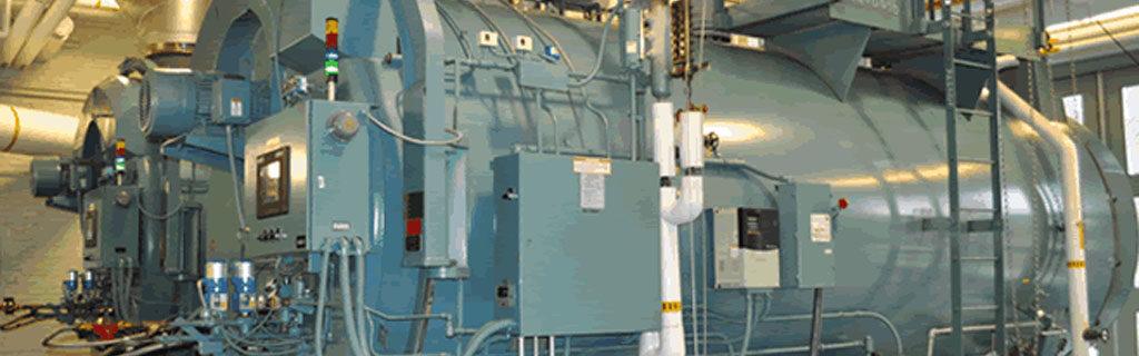 Industrial boiler in a boiler room
