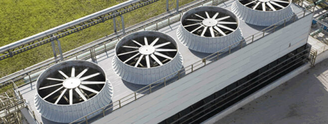 Cooling towers on a roof